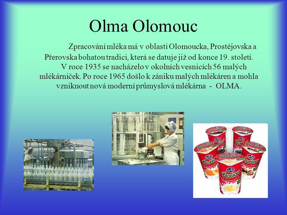 Olma Olomouc Zpracování mléka má v oblasti Olomoucka, Prostějovska a Přerovska bohatou tradici, která se datuje již od konce 19. století. V roce 1935
