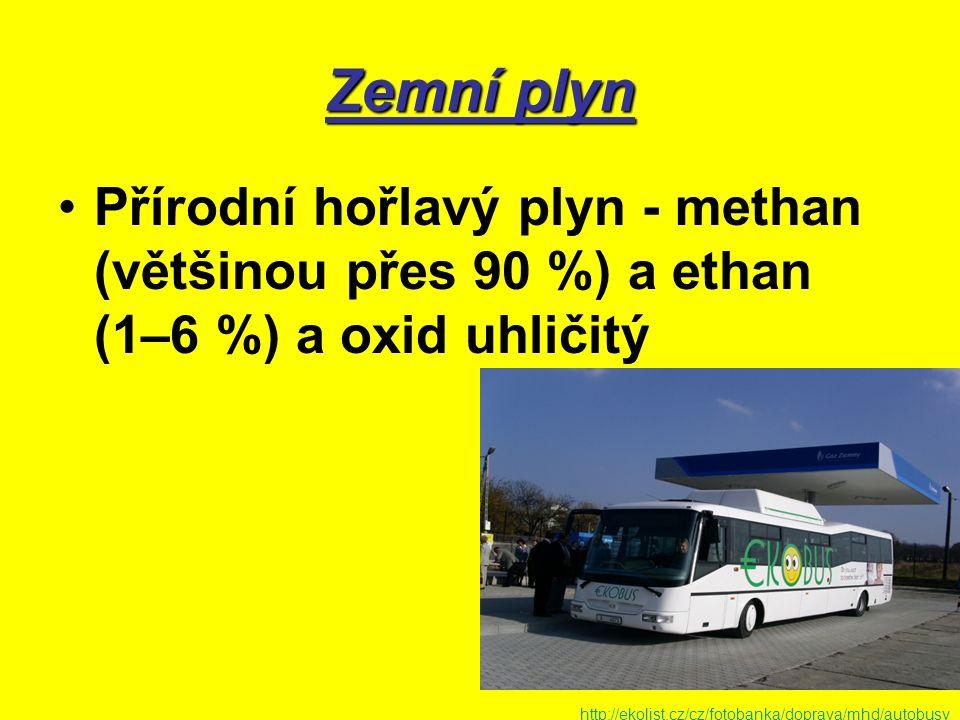 Zemní plyn Přírodní hořlavý plyn - methan (většinou přes 90 %) a ethan (1–6 %) a oxid uhličitý http://ekolist.cz/cz/fotobanka/doprava/mhd/autobusy