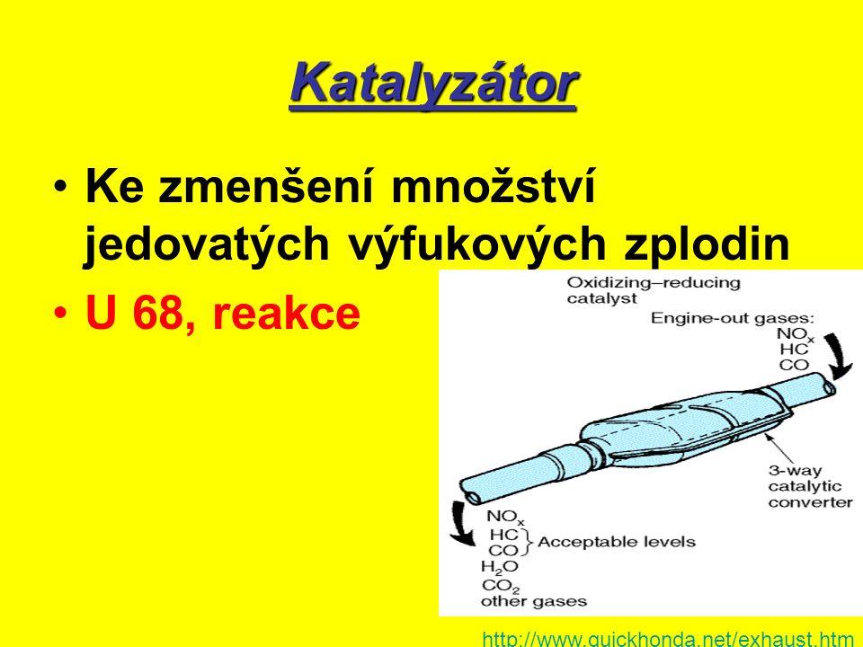 Katalyzátor Ke zmenšení množství jedovatých výfukových zplodin U 68, reakce http://www.quickhonda.net/exhaust.htm