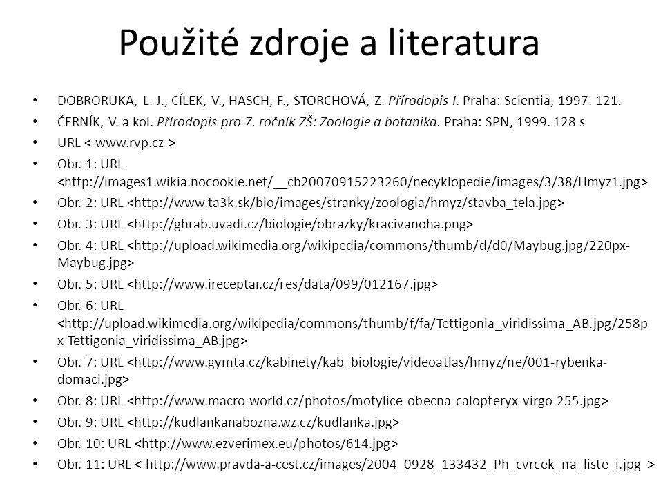 Použité zdroje a literatura DOBRORUKA, L. J., CÍLEK, V., HASCH, F., STORCHOVÁ, Z. Přírodopis I. Praha: Scientia, 1997. 121. ČERNÍK, V. a kol. Přírodop
