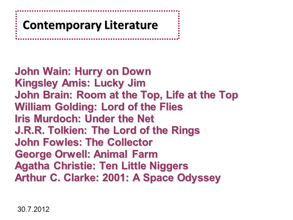 Kliknutím lze upravit styl předlohy. 30.7.2012 Contemporary Literature Contemporary Literature John Wain: Hurry on Down Kingsley Amis: Lucky Jim John