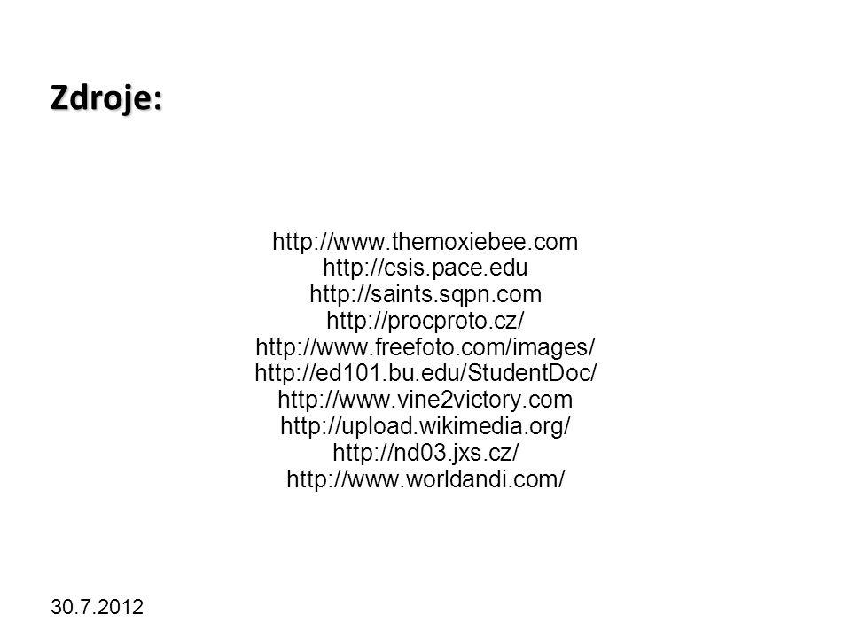 Kliknutím lze upravit styl předlohy. 30.7.2012 Zdroje: http://www.themoxiebee.com http://csis.pace.edu http://saints.sqpn.com http://procproto.cz/ htt