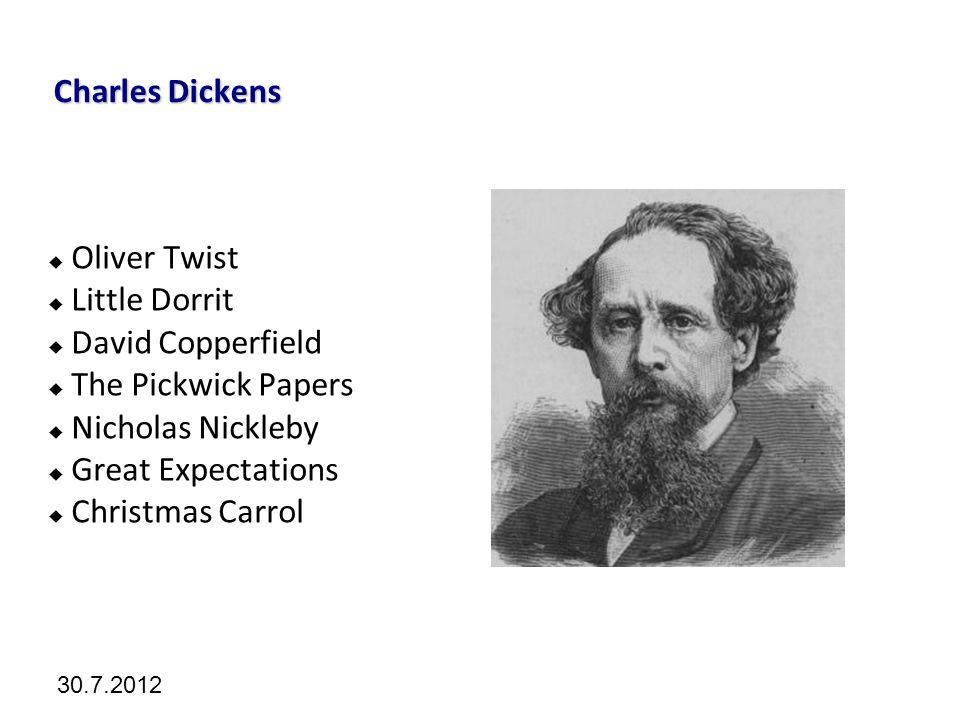 Kliknutím lze upravit styl předlohy. 30.7.2012 Charles Dickens  Oliver Twist  Little Dorrit  David Copperfield  The Pickwick Papers  Nicholas Nic