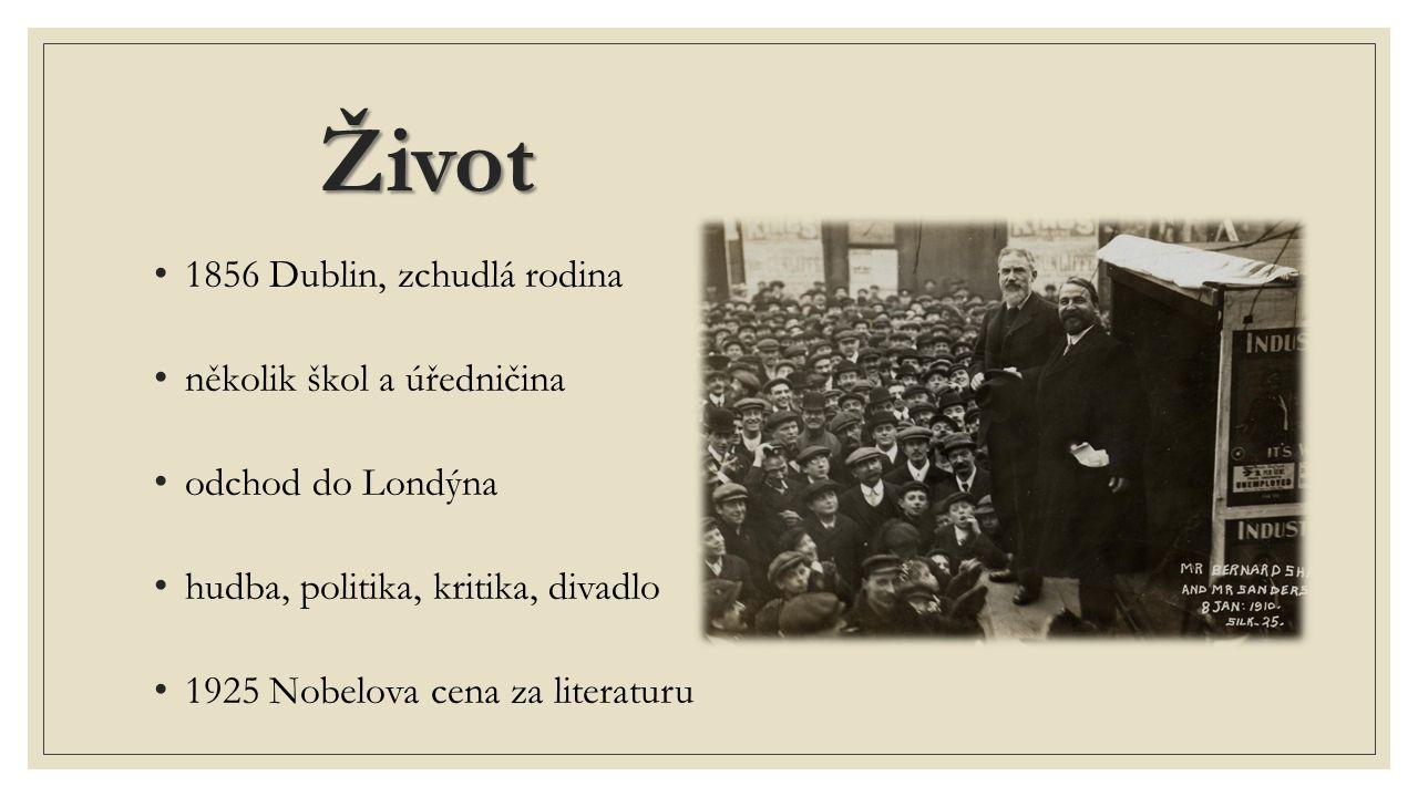 Život 1856 Dublin, zchudlá rodina několik škol a úředničina odchod do Londýna hudba, politika, kritika, divadlo 1925 Nobelova cena za literaturu