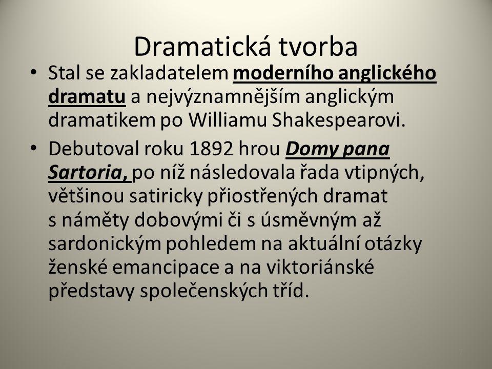Dramatická tvorba Stal se zakladatelem moderního anglického dramatu a nejvýznamnějším anglickým dramatikem po Williamu Shakespearovi. Debutoval roku 1