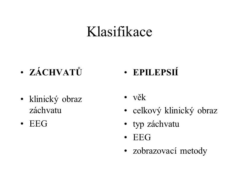Klasifikace ZÁCHVATŮ klinický obraz záchvatu EEG EPILEPSIÍ věk celkový klinický obraz typ záchvatu EEG zobrazovací metody