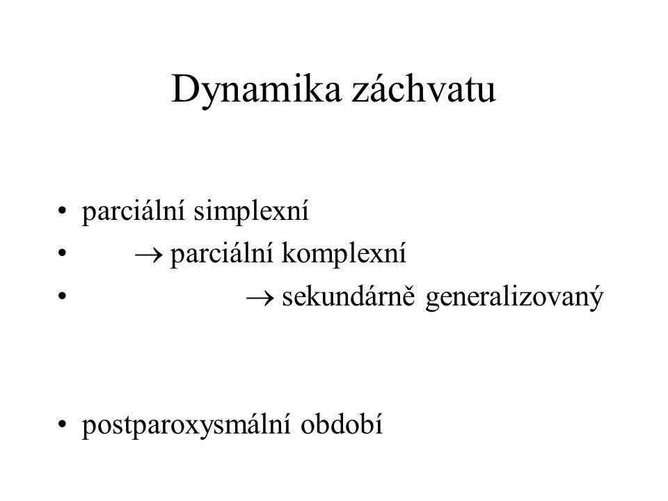 Dynamika záchvatu parciální simplexní  parciální komplexní  sekundárně generalizovaný postparoxysmální období