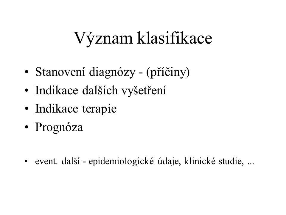 Význam klasifikace Stanovení diagnózy - (příčiny) Indikace dalších vyšetření Indikace terapie Prognóza event.