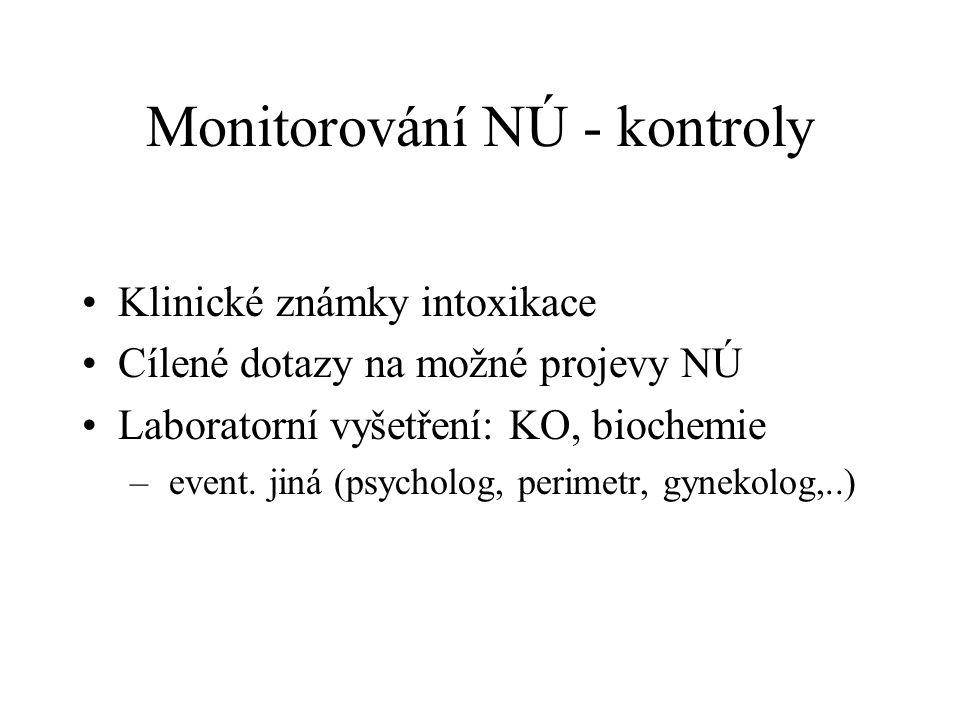 Monitorování NÚ - kontroly Klinické známky intoxikace Cílené dotazy na možné projevy NÚ Laboratorní vyšetření: KO, biochemie – event.