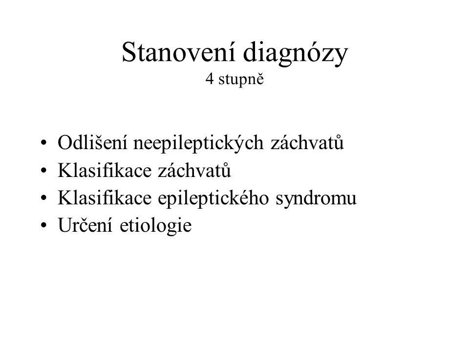Stanovení diagnózy 4 stupně Odlišení neepileptických záchvatů Klasifikace záchvatů Klasifikace epileptického syndromu Určení etiologie