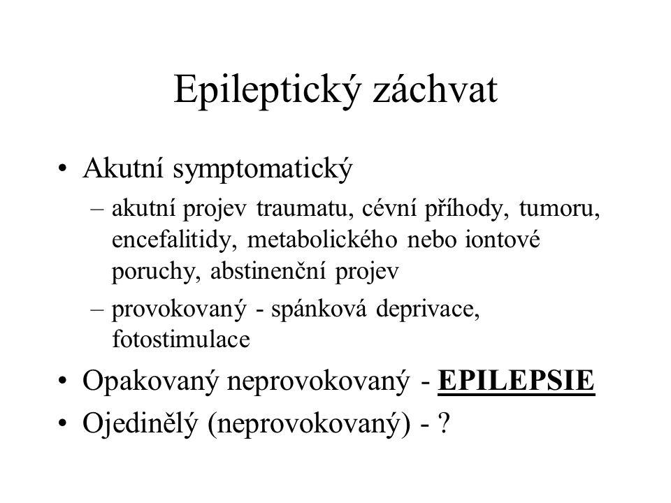 Epileptický záchvat Akutní symptomatický –akutní projev traumatu, cévní příhody, tumoru, encefalitidy, metabolického nebo iontové poruchy, abstinenční projev –provokovaný - spánková deprivace, fotostimulace Opakovaný neprovokovaný - EPILEPSIE Ojedinělý (neprovokovaný) -