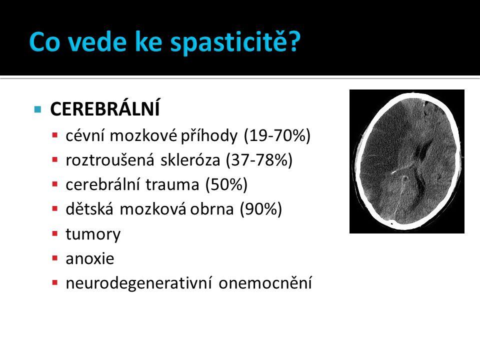  CEREBRÁLNÍ  cévní mozkové příhody (19-70%)  roztroušená skleróza (37-78%)  cerebrální trauma (50%)  dětská mozková obrna (90%)  tumory  anoxie  neurodegenerativní onemocnění odhad 12 mil.