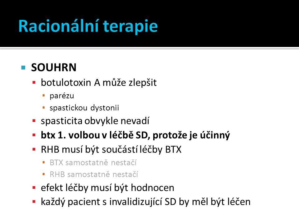  SOUHRN  botulotoxin A může zlepšit ▪ parézu ▪ spastickou dystonii  spasticita obvykle nevadí  btx 1.