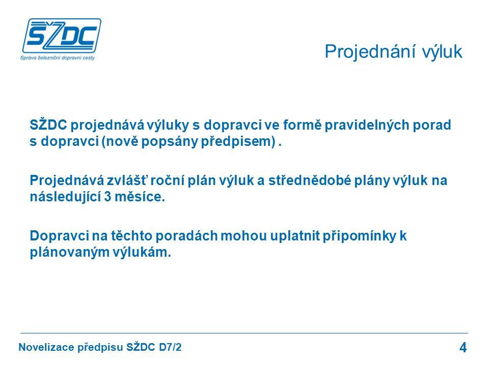 SŽDC projednává výluky s dopravci ve formě pravidelných porad s dopravci (nově popsány předpisem). Projednává zvlášť roční plán výluk a střednědobé pl