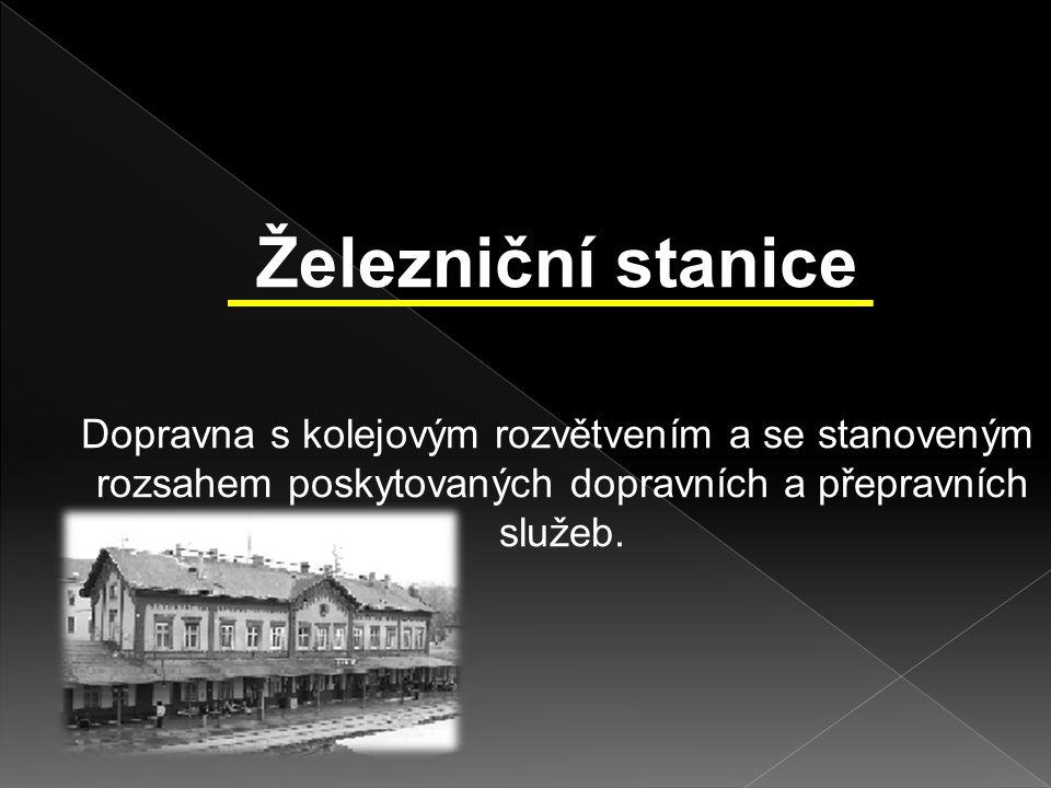 Železniční stanice Dopravna s kolejovým rozvětvením a se stanoveným rozsahem poskytovaných dopravních a přepravních služeb.