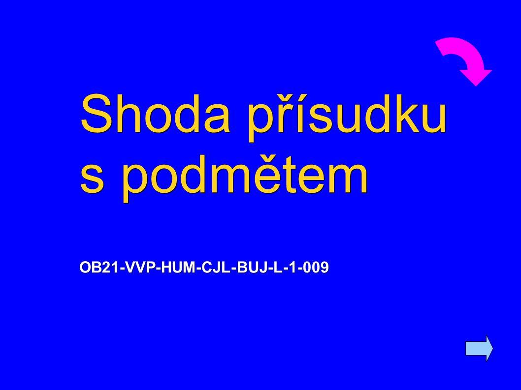 Shoda přísudku s podmětem OB21-VVP-HUM-CJL-BUJ-L-1-009