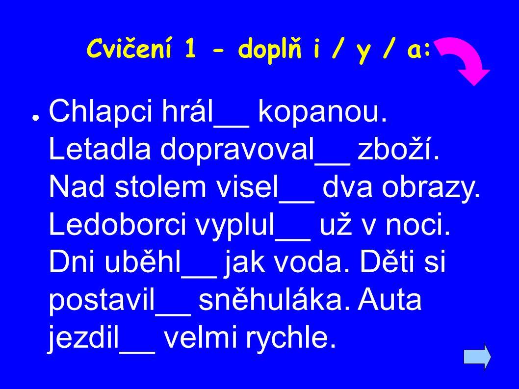 Cvičení 1 - doplň i / y / a: ● Chlapci hrál__ kopanou.