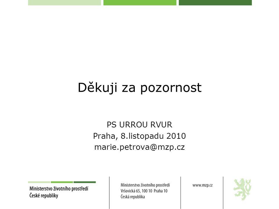Děkuji za pozornost PS URROU RVUR Praha, 8.listopadu 2010 marie.petrova@mzp.cz