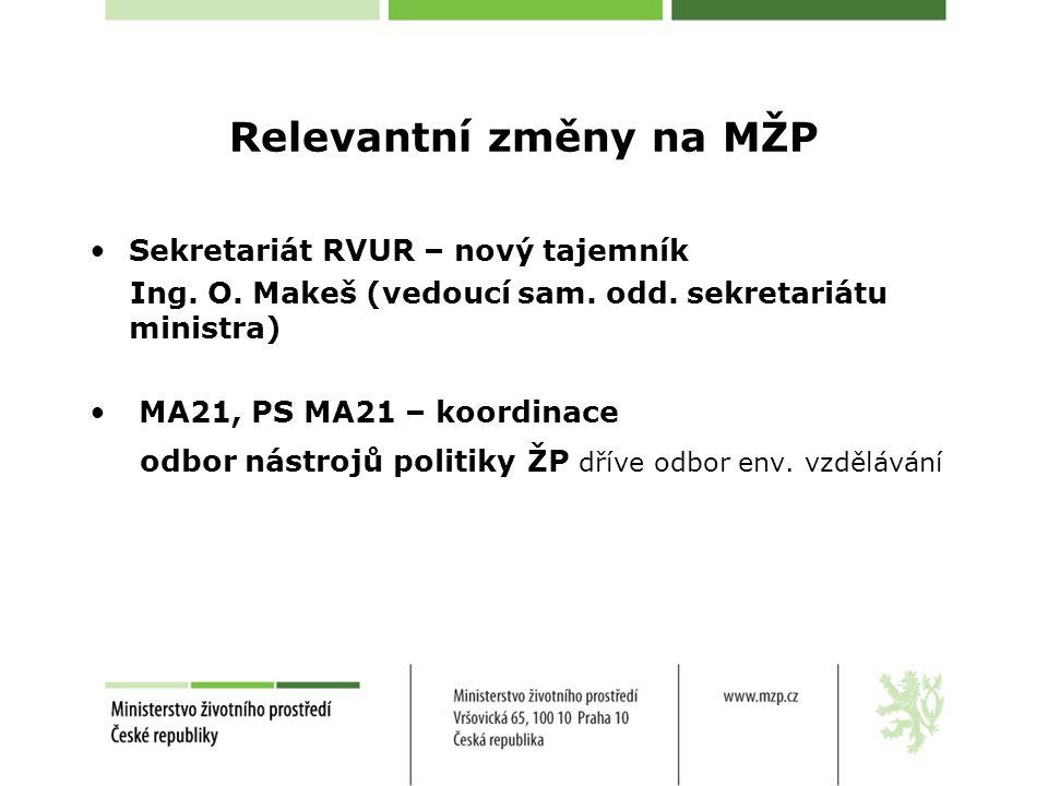 Relevantní změny na MŽP Sekretariát RVUR – nový tajemník Ing.