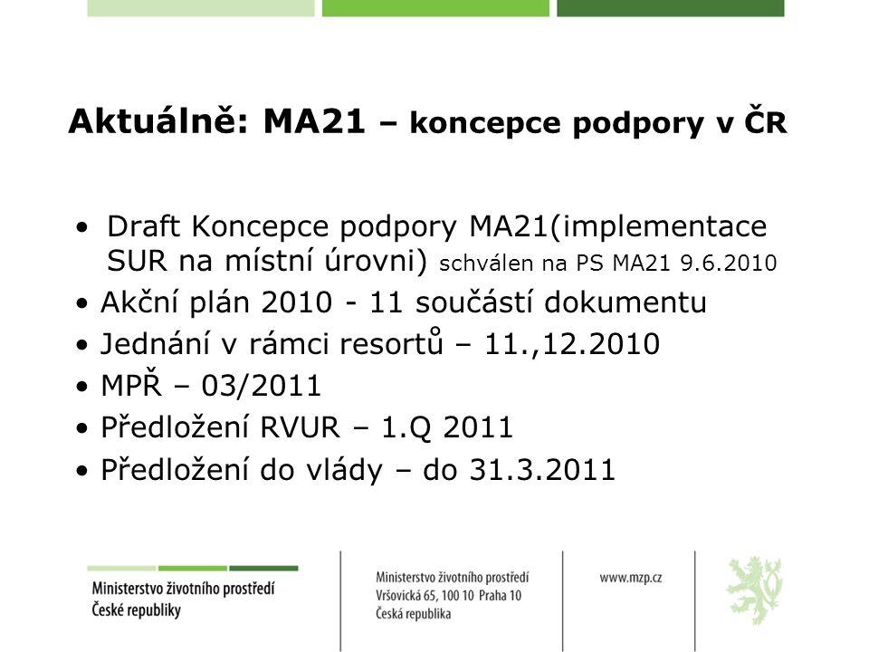 Aktuálně: MA21 – koncepce podpory v ČR Draft Koncepce podpory MA21(implementace SUR na místní úrovni) schválen na PS MA21 9.6.2010 Akční plán 2010 - 11 součástí dokumentu Jednání v rámci resortů – 11.,12.2010 MPŘ – 03/2011 Předložení RVUR – 1.Q 2011 Předložení do vlády – do 31.3.2011