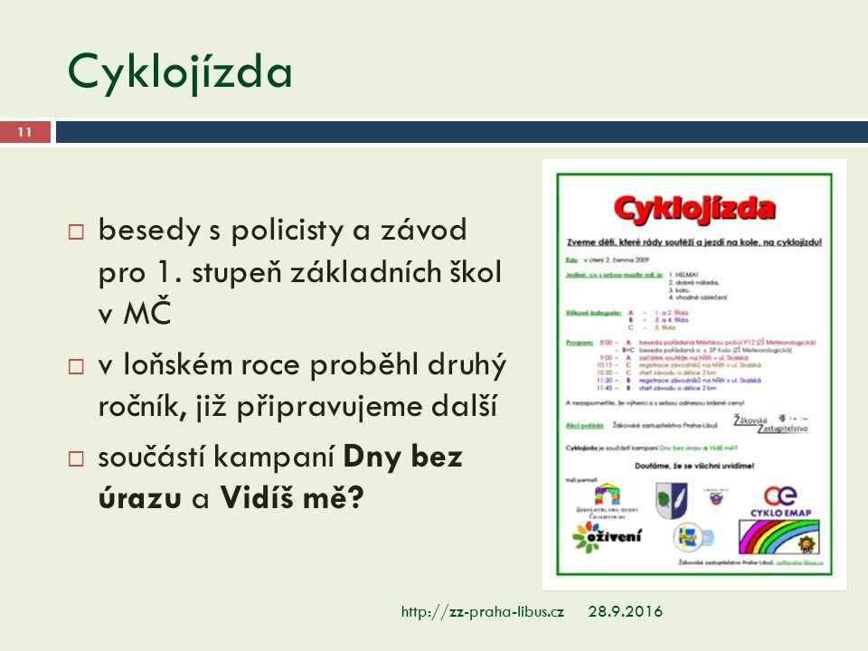Cyklojízda 28.9.2016http://zz-praha-libus.cz 11  besedy s policisty a závod pro 1. stupeň základních škol v MČ  v loňském roce proběhl druhý ročník,