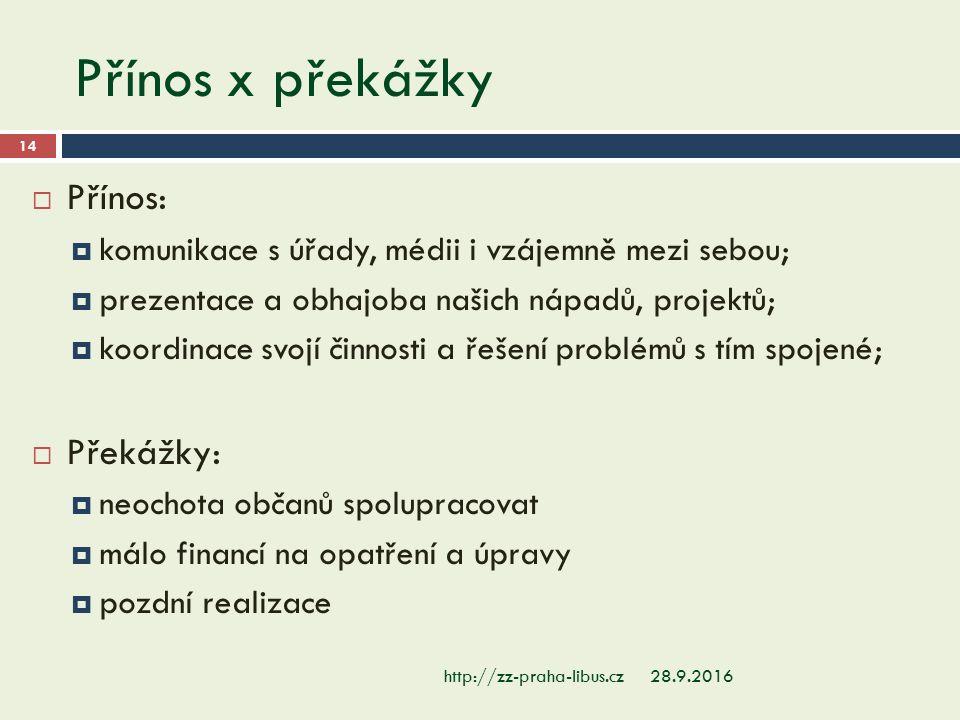 Přínos x překážky 28.9.2016http://zz-praha-libus.cz 14  Přínos:  komunikace s úřady, médii i vzájemně mezi sebou;  prezentace a obhajoba našich náp