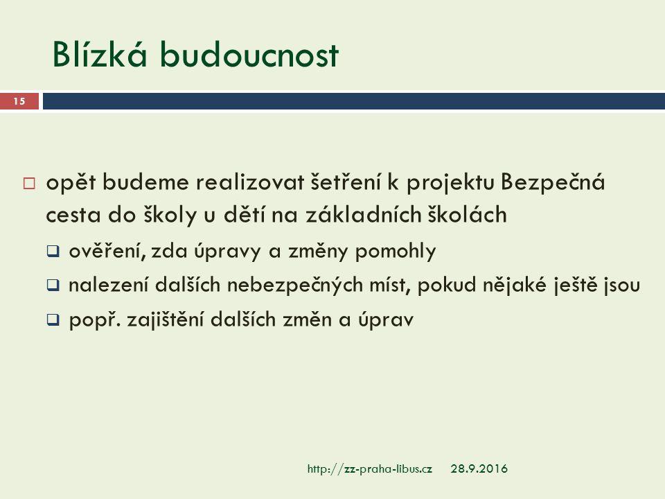Blízká budoucnost 28.9.2016http://zz-praha-libus.cz 15  opět budeme realizovat šetření k projektu Bezpečná cesta do školy u dětí na základních školác