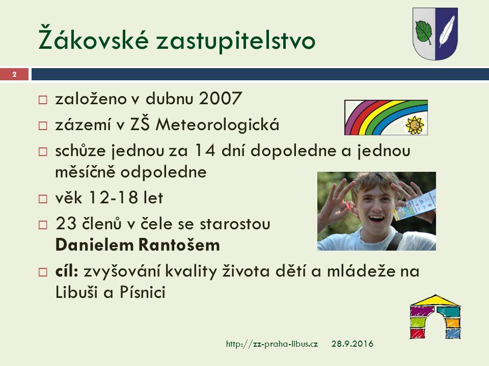 Žákovské zastupitelstvo 28.9.2016http://zz-praha-libus.cz 2  založeno v dubnu 2007  zázemí v ZŠ Meteorologická  schůze jednou za 14 dní dopoledne a