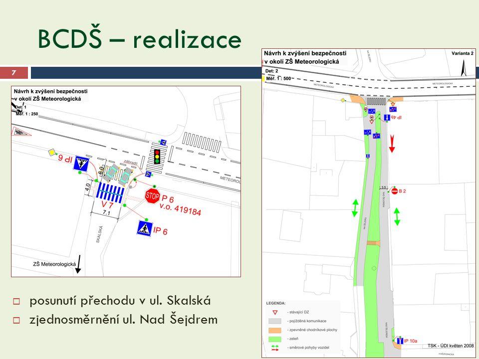 BCDŠ – realizace 28.9.2016 7  posunutí přechodu v ul. Skalská  zjednosměrnění ul. Nad Šejdrem