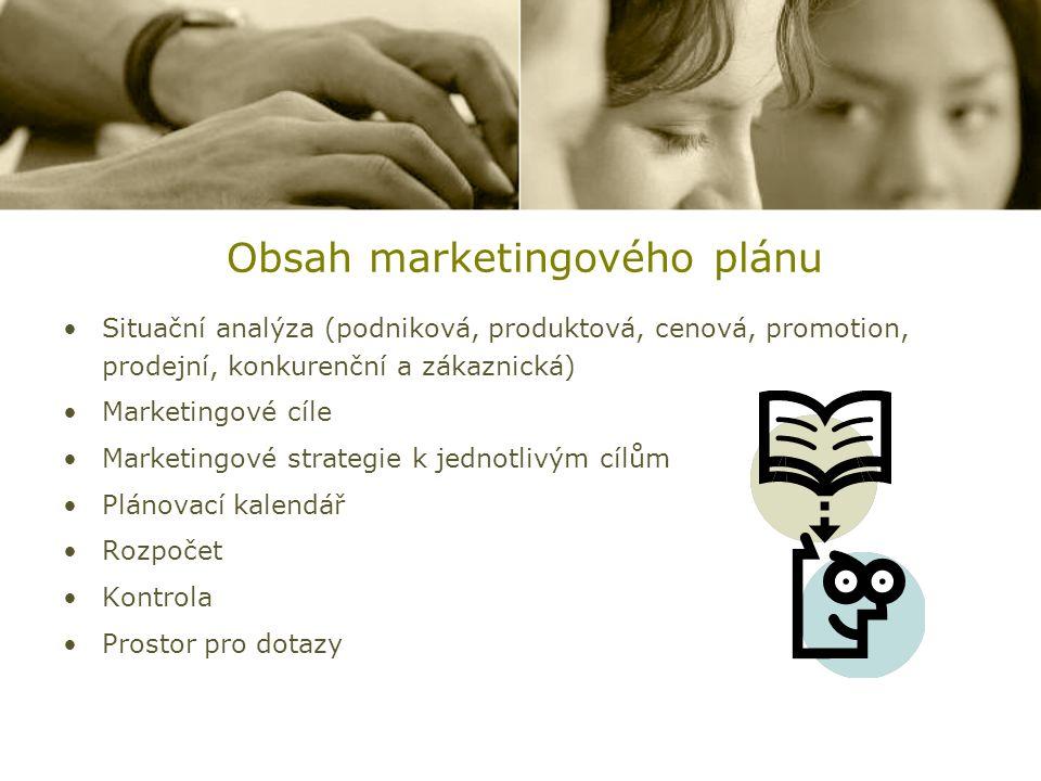 Obsah marketingového plánu Situační analýza (podniková, produktová, cenová, promotion, prodejní, konkurenční a zákaznická) Marketingové cíle Marketing