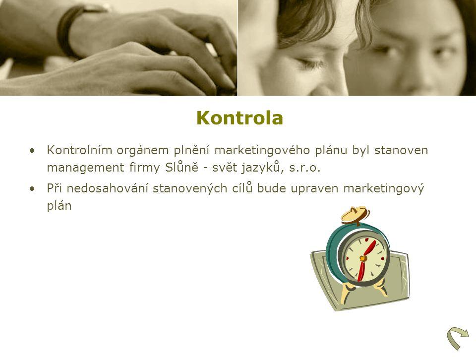 Kontrola Kontrolním orgánem plnění marketingového plánu byl stanoven management firmy Slůně - svět jazyků, s.r.o. Při nedosahování stanovených cílů bu