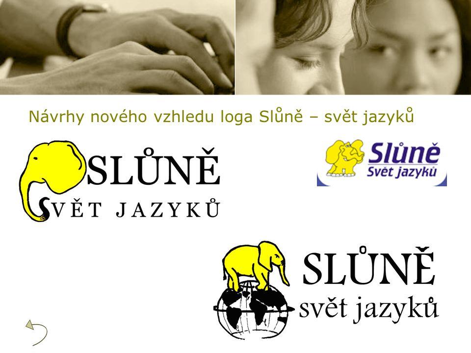 Návrhy nového vzhledu loga Slůně – svět jazyků