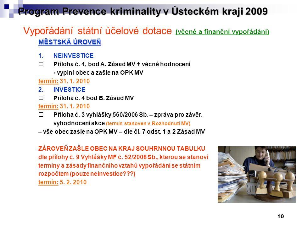 10 Program Prevence kriminality v Ústeckém kraji 2009 Vypořádání státní účelové dotace (věcné a finanční vypořádání) MĚSTSKÁ ÚROVEŇ 1. NEINVESTICE  P