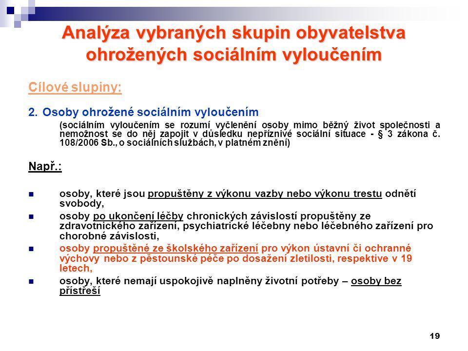 19 Analýza vybraných skupin obyvatelstva ohrožených sociálním vyloučením Cílové slupiny: 2. Osoby ohrožené sociálním vyloučením (sociálním vyloučením