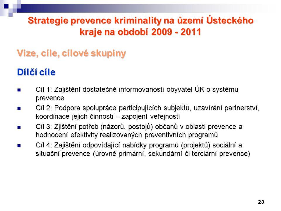 23 Strategie prevence kriminality na území Ústeckého kraje na období 2009 - 2011 Vize, cíle, cílové skupiny Dílčí cíle Cíl 1: Zajištění dostatečné inf