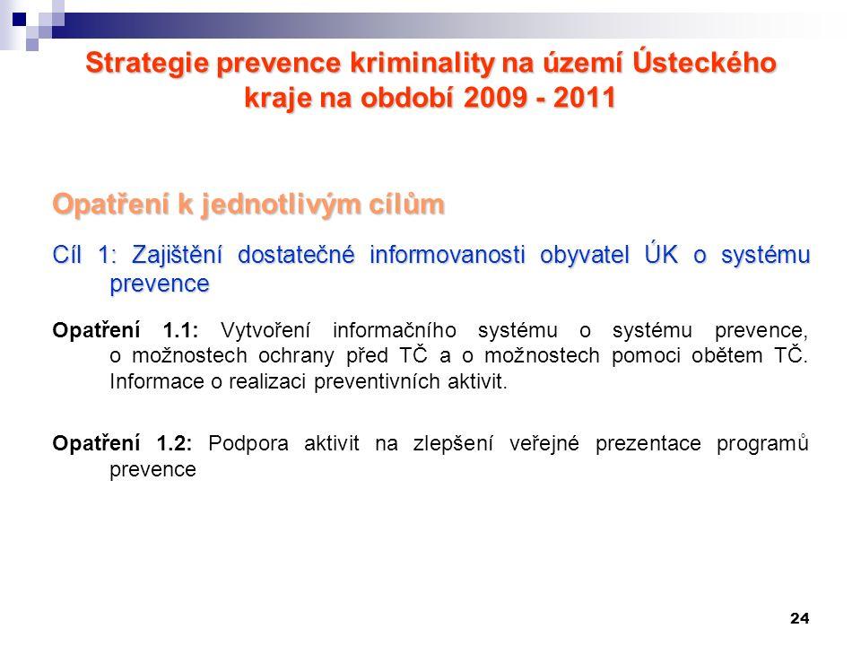24 Strategie prevence kriminality na území Ústeckého kraje na období 2009 - 2011 Opatření k jednotlivým cílům Cíl 1: Zajištění dostatečné informovanos