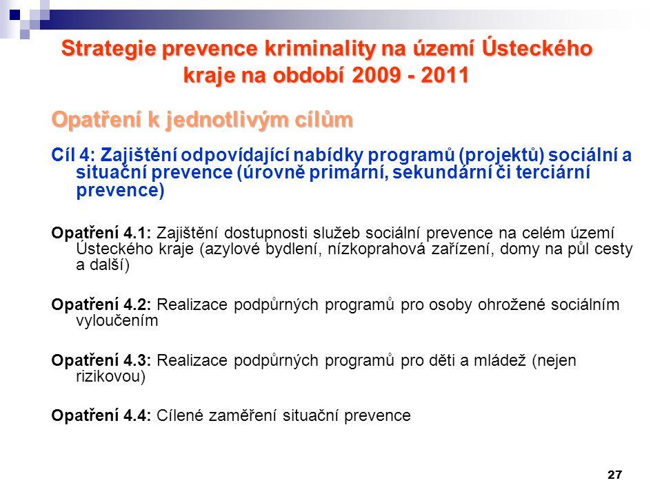 27 Strategie prevence kriminality na území Ústeckého kraje na období 2009 - 2011 Opatření k jednotlivým cílům Cíl 4: Zajištění odpovídající nabídky programů (projektů) sociální a situační prevence (úrovně primární, sekundární či terciární prevence) Opatření 4.1: Zajištění dostupnosti služeb sociální prevence na celém území Ústeckého kraje (azylové bydlení, nízkoprahová zařízení, domy na půl cesty a další) Opatření 4.2: Realizace podpůrných programů pro osoby ohrožené sociálním vyloučením Opatření 4.3: Realizace podpůrných programů pro děti a mládež (nejen rizikovou) Opatření 4.4: Cílené zaměření situační prevence