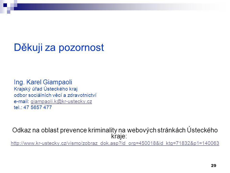 29 Děkuji za pozornost Ing. Karel Giampaoli Krajský úřad Ústeckého kraj odbor sociálních věcí a zdravotnictví e-mail: giampaoli.k@kr-ustecky.cz tel.: