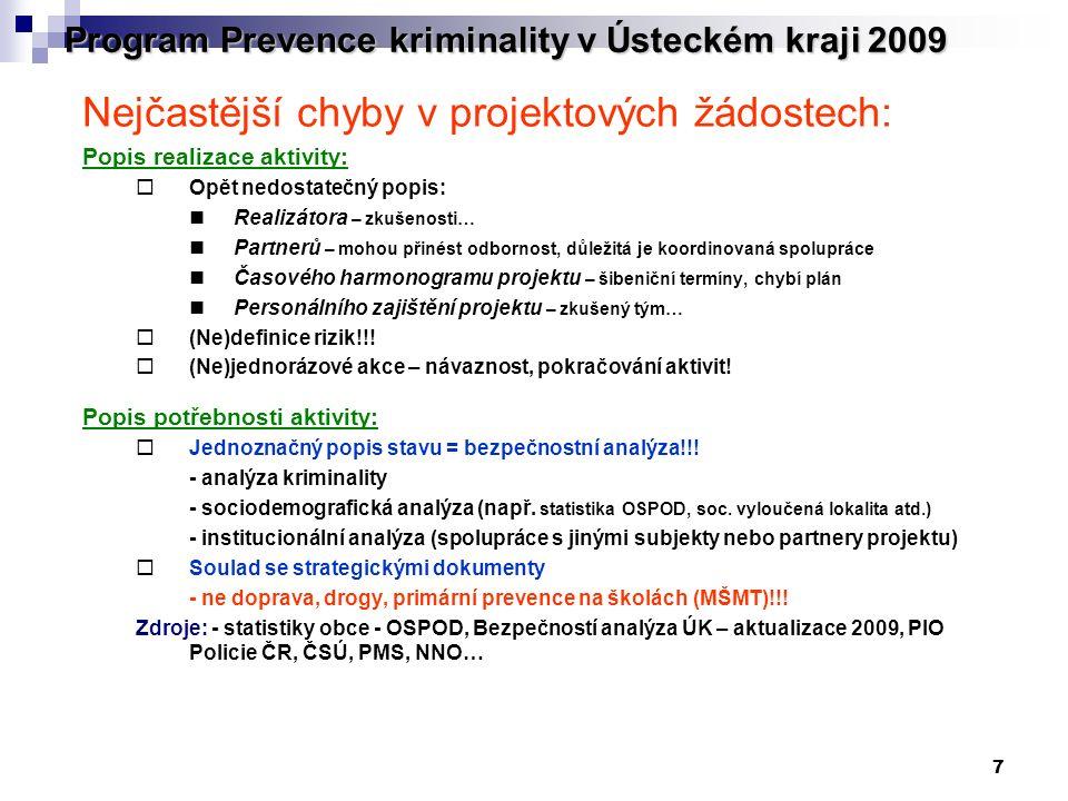 7 Program Prevence kriminality v Ústeckém kraji 2009 Nejčastější chyby v projektových žádostech: Popis realizace aktivity:  Opět nedostatečný popis: