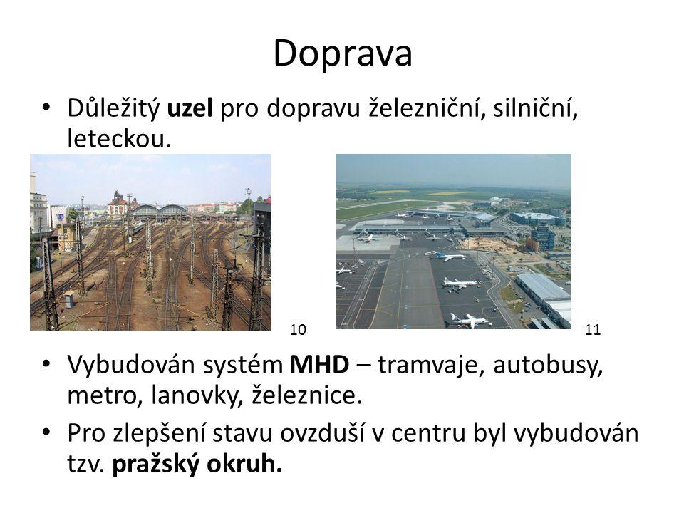 Doprava Důležitý uzel pro dopravu železniční, silniční, leteckou.