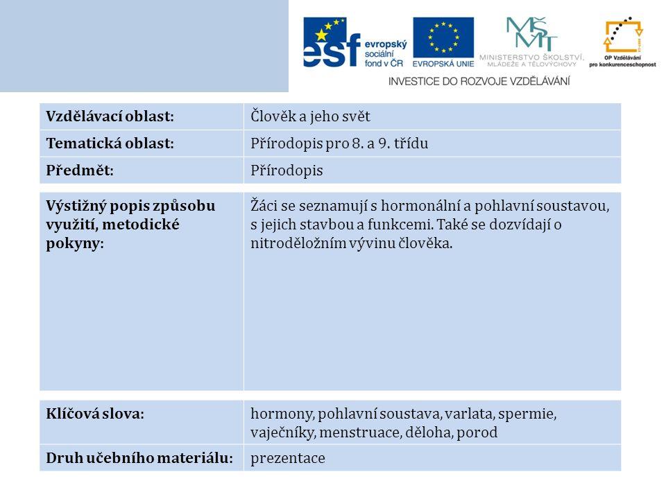 Vzdělávací oblast:Člověk a jeho svět Tematická oblast:Přírodopis pro 8. a 9. třídu Předmět:Přírodopis Výstižný popis způsobu využití, metodické pokyny