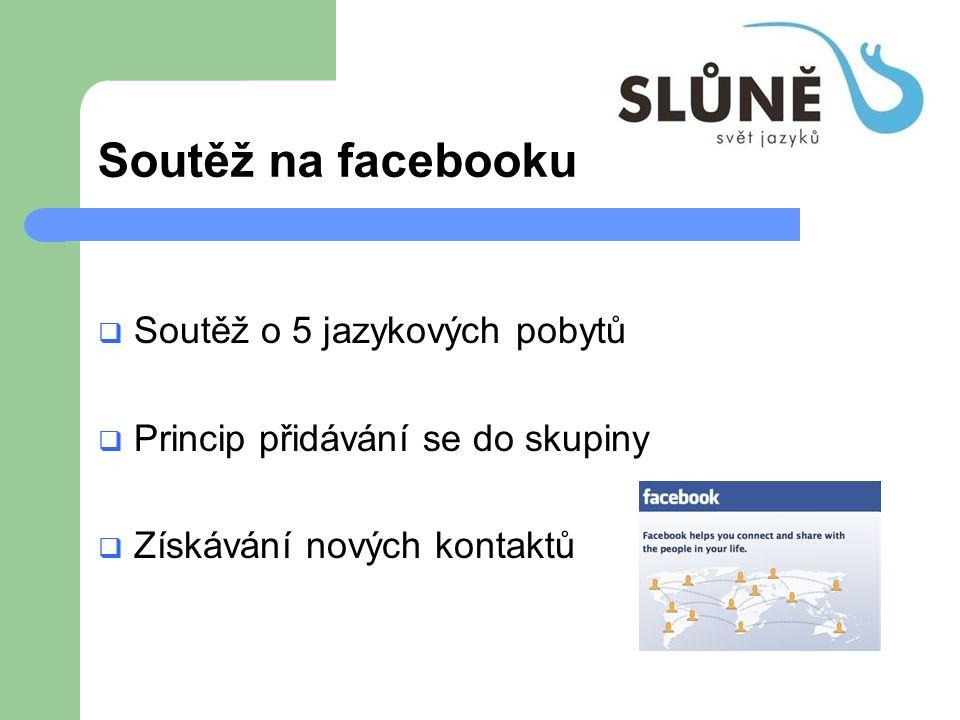 Soutěž na facebooku  Soutěž o 5 jazykových pobytů  Princip přidávání se do skupiny  Získávání nových kontaktů