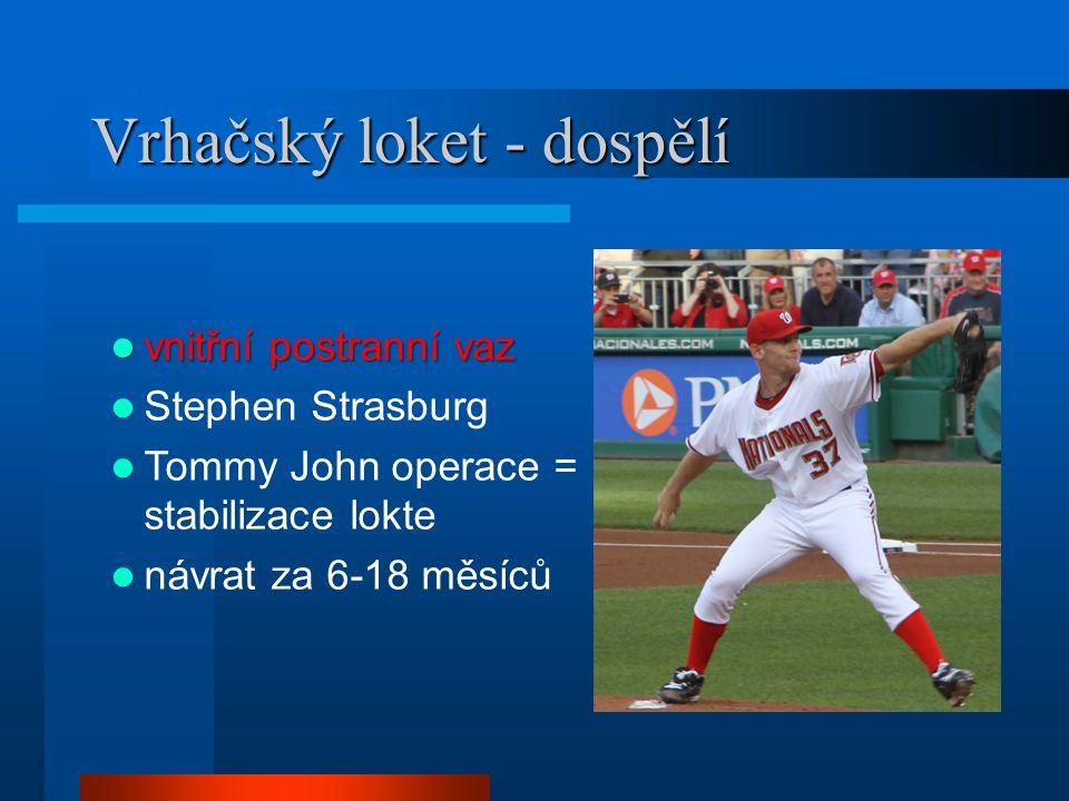 Vrhačský loket - dospělí vnitřní postranní vaz vnitřní postranní vaz Stephen Strasburg Tommy John operace = stabilizace lokte návrat za 6-18 měsíců