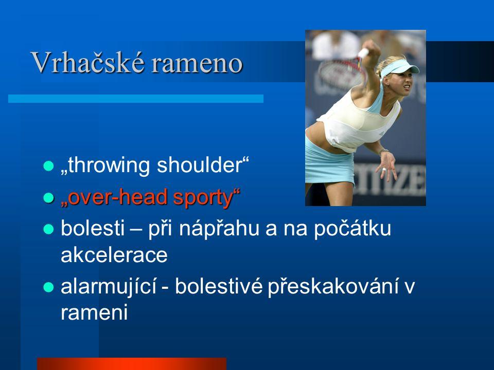 """Vrhačské rameno """"throwing shoulder """"over-head sporty """"over-head sporty bolesti – při nápřahu a na počátku akcelerace alarmující - bolestivé přeskakování v rameni"""