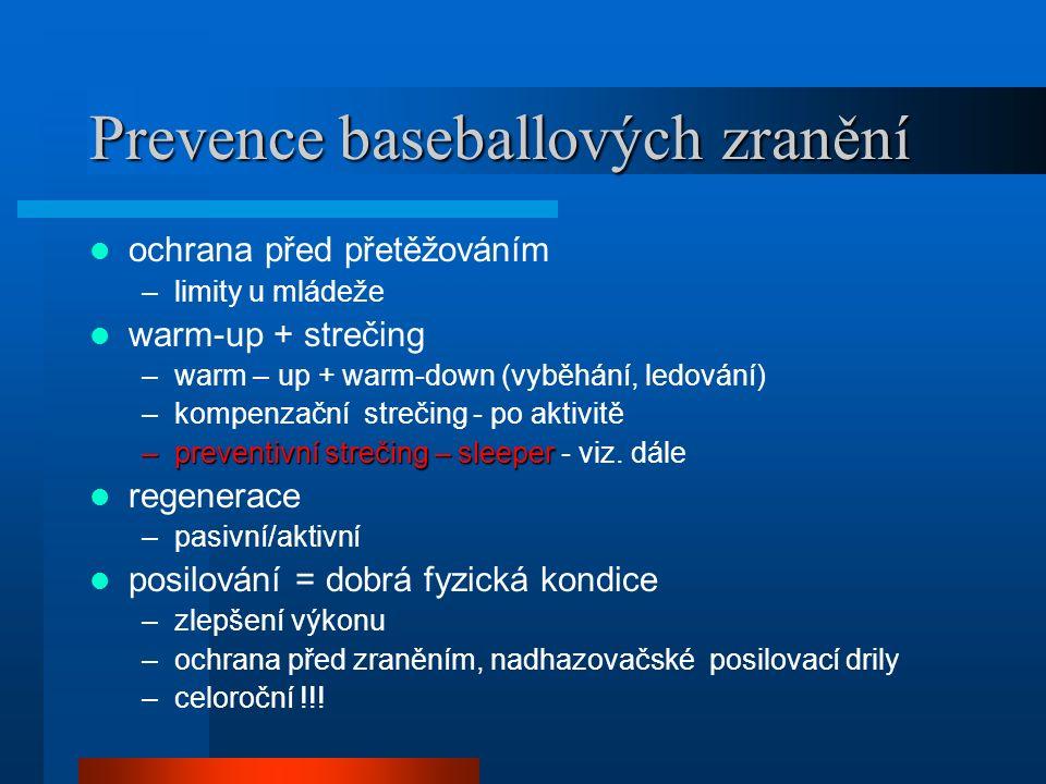 Prevence baseballových zranění ochrana před přetěžováním –limity u mládeže warm-up + strečing –warm – up + warm-down (vyběhání, ledování) –kompenzační strečing - po aktivitě –preventivní strečing – sleeper –preventivní strečing – sleeper - viz.