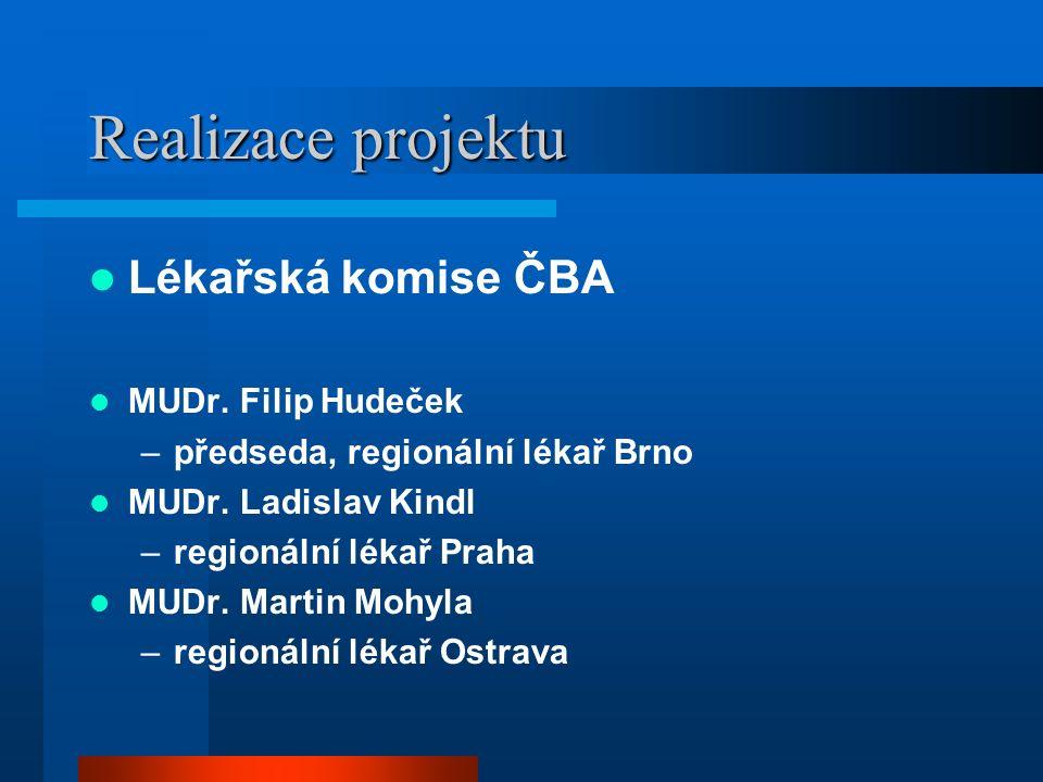 Realizace projektu Lékařská komise ČBA MUDr. Filip Hudeček –předseda, regionální lékař Brno MUDr.
