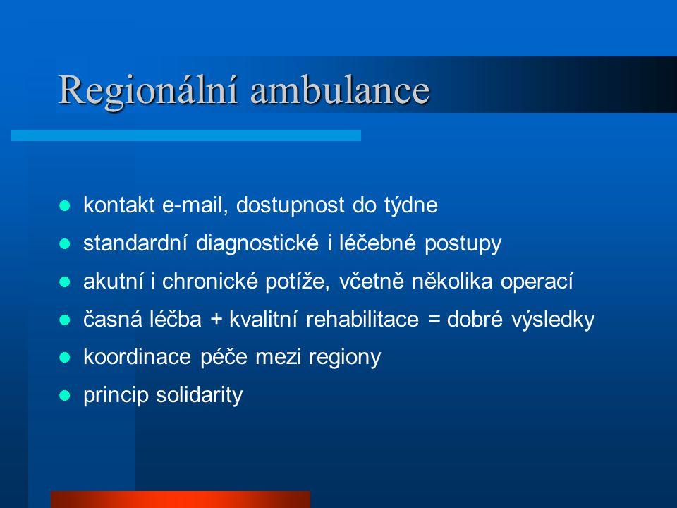 Regionální ambulance kontakt e-mail, dostupnost do týdne standardní diagnostické i léčebné postupy akutní i chronické potíže, včetně několika operací časná léčba + kvalitní rehabilitace = dobré výsledky koordinace péče mezi regiony princip solidarity