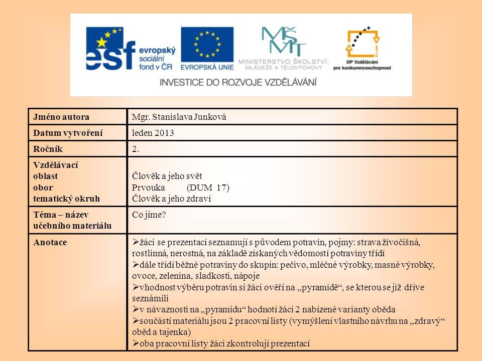 Jméno autoraMgr. Stanislava Junková Datum vytvořeníleden 2013 Ročník2.