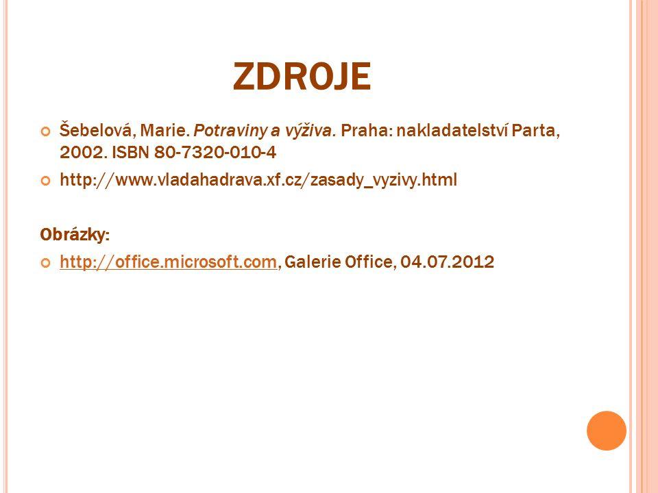 ZDROJE Šebelová, Marie. Potraviny a výživa. Praha: nakladatelství Parta, 2002. ISBN 80-7320-010-4 http://www.vladahadrava.xf.cz/zasady_vyzivy.html Obr
