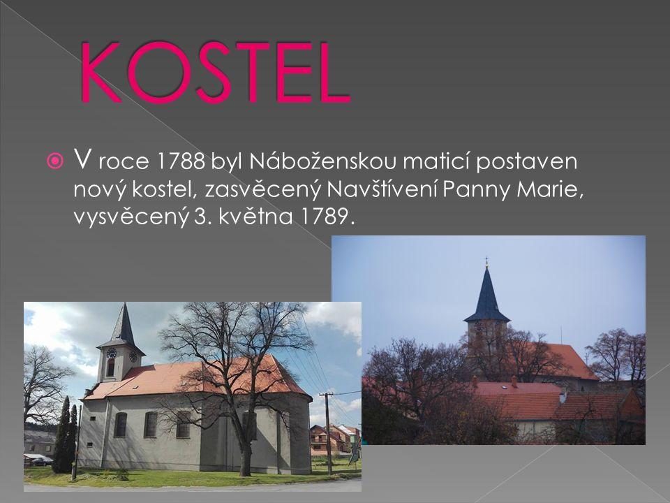  V roce 1788 byl Náboženskou maticí postaven nový kostel, zasvěcený Navštívení Panny Marie, vysvěcený 3.